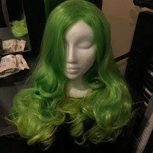 Neon green cosplay wig